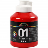 A-color Acrylverf, 01, Glossy, Rood, 500 ml, 1 Fles