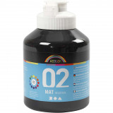 A-color Acrylverf, 02, Matt, Zwart, 500 ml, 1 Fles