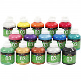 A-color Acrylverf, 03, Metallic, Diverse Kleuren, 500 ml, 15 Fles