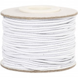 Elastiek, 1 mm, Wit, 25 M, 1 Rol