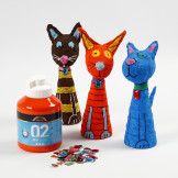 Painted and decorated Polystyrene and Gauze Bandage Animals